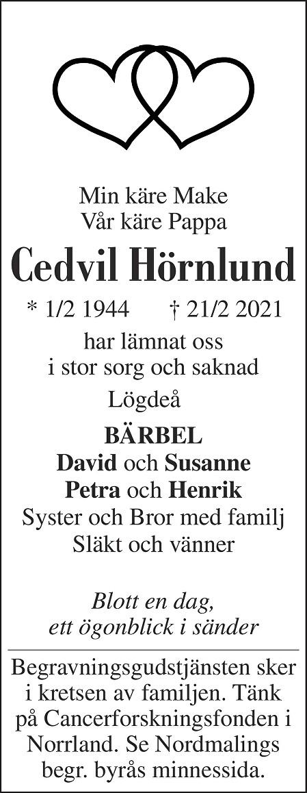 Cedvil Hörnlund Death notice