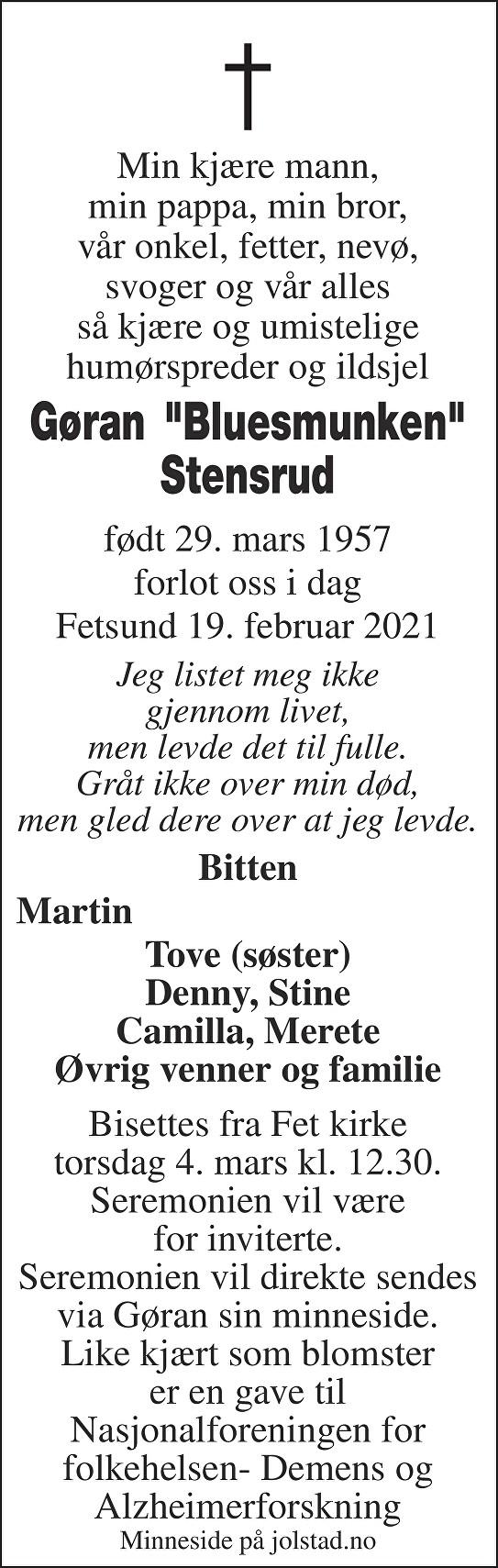 "Gøran ""Bluesmunken"" Stensrud Dødsannonse"
