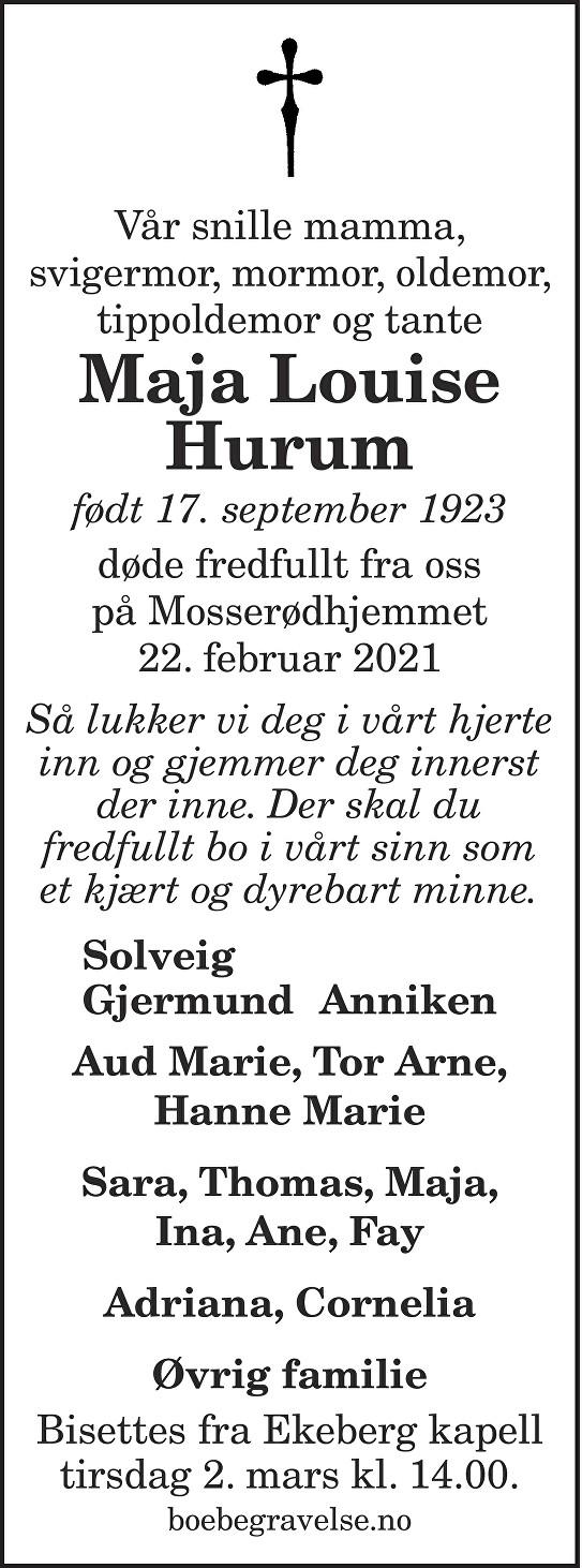 Maja Louise Hurum Dødsannonse