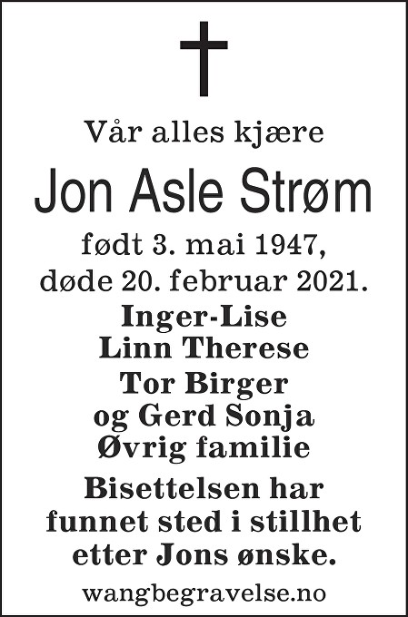 Jon Asle Strøm Dødsannonse