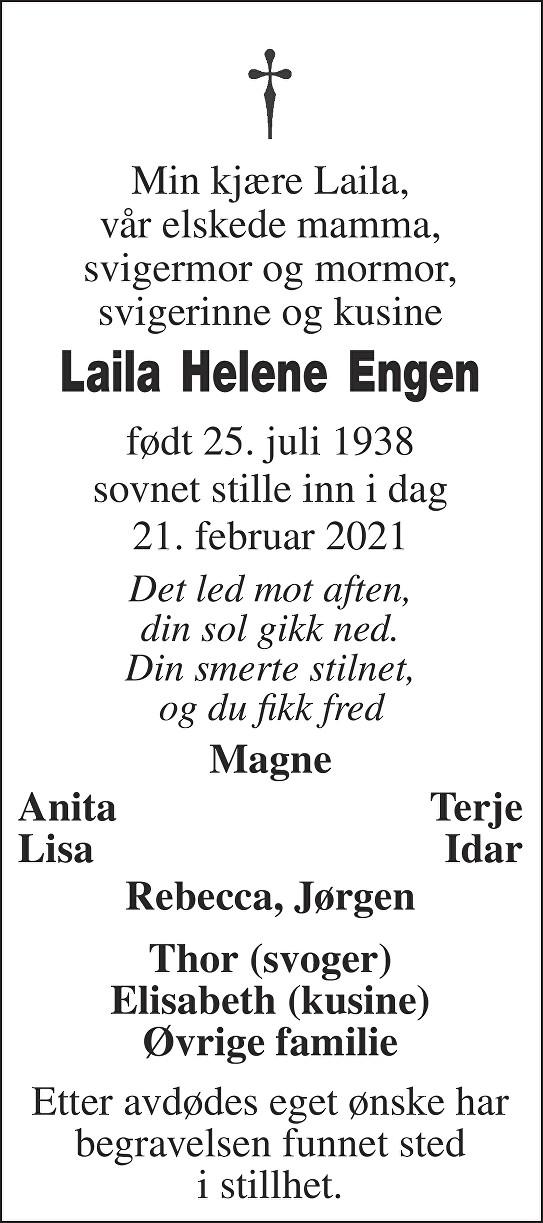 Laila Helene Engen Dødsannonse