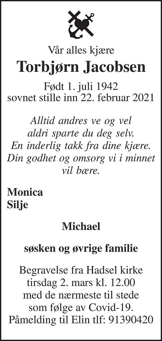 Torbjørn Jacobsen Dødsannonse