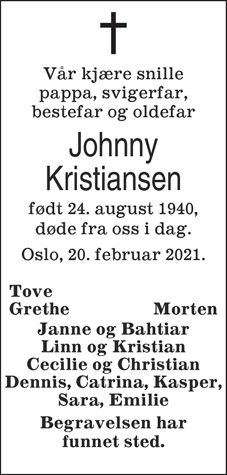 Johnny Ingolf Kristiansen Dødsannonse