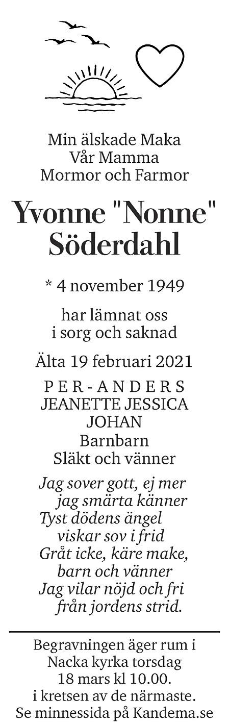 """Yvonne """"Nonne""""  Söderdahl Death notice"""