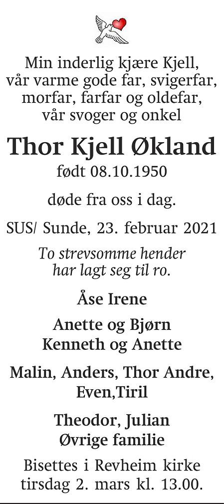 Thor Kjell Økland Dødsannonse