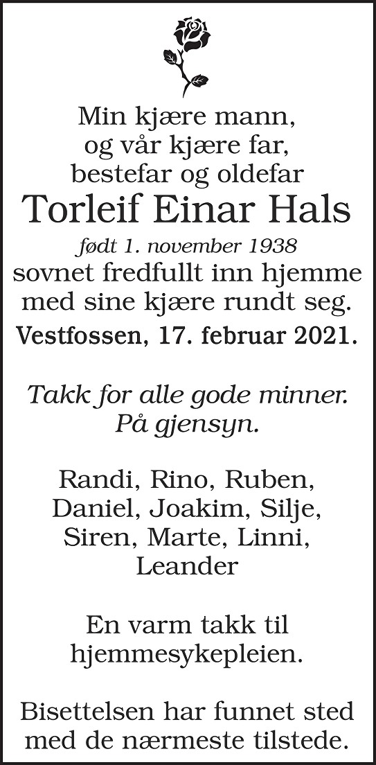 Torleif Einar Hals Dødsannonse