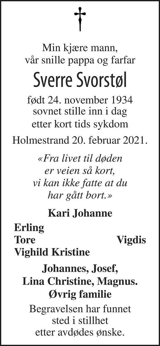 Sverre Svorstøl Dødsannonse