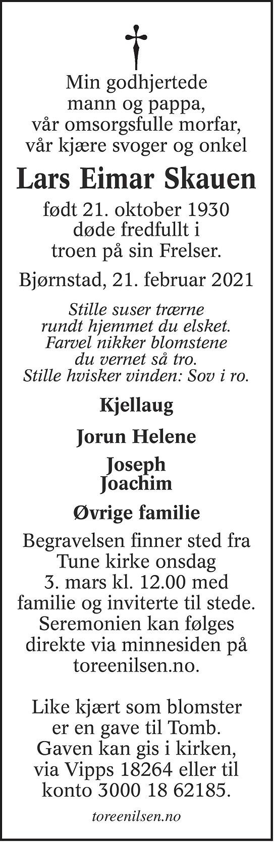Lars Eimar Skauen Dødsannonse