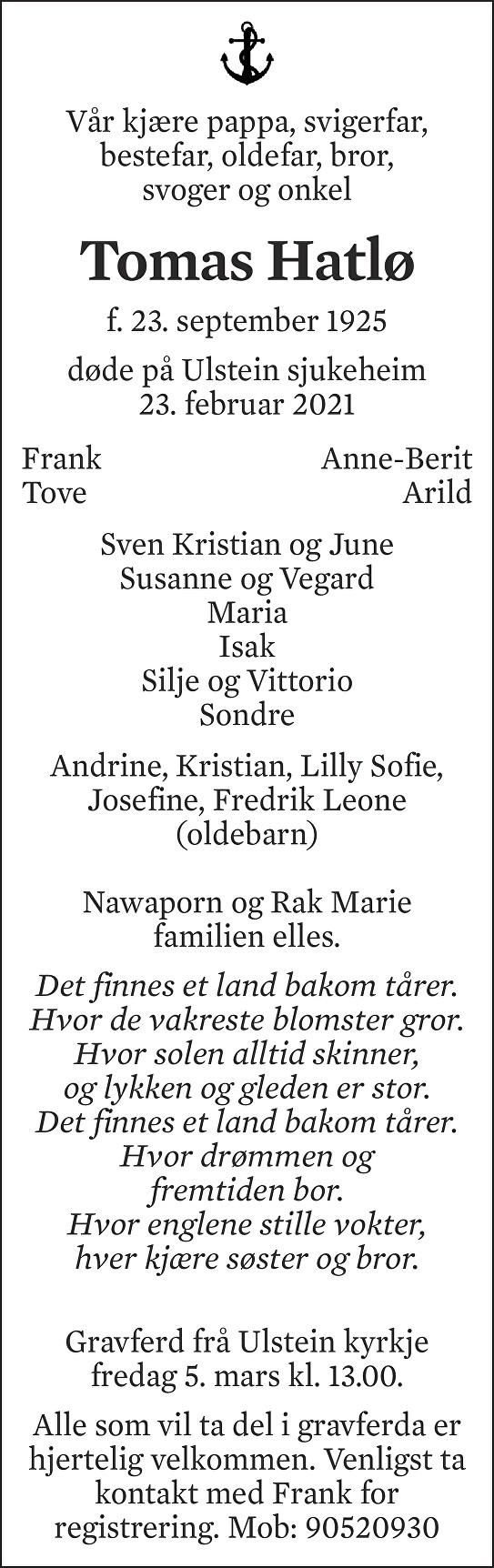 Tomas Hatlø Dødsannonse