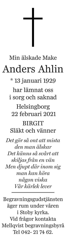 Anders Ahlin Death notice