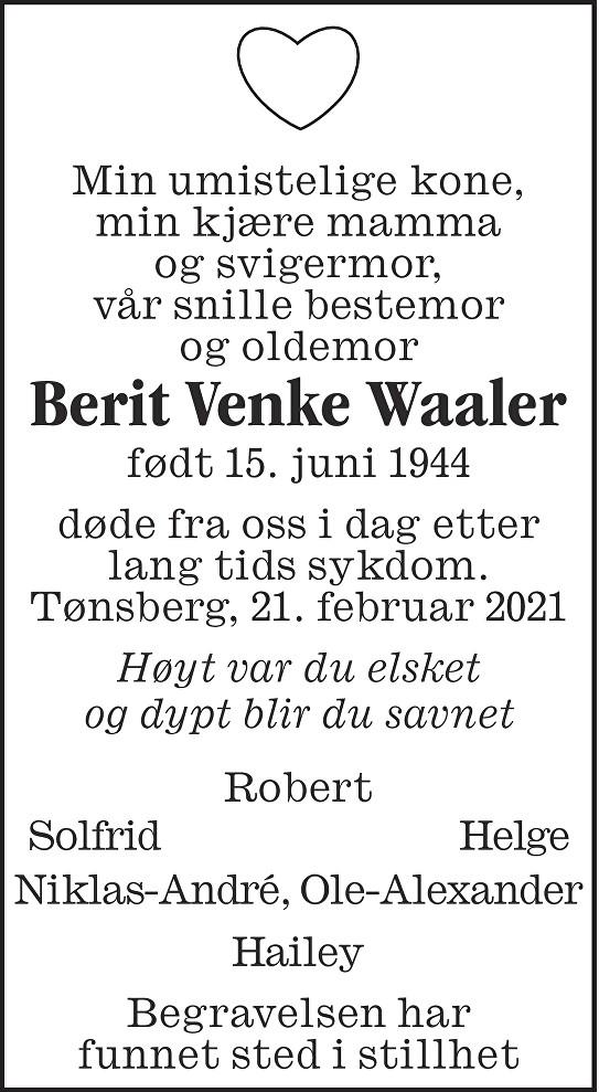 Berit Venke Waaler Dødsannonse