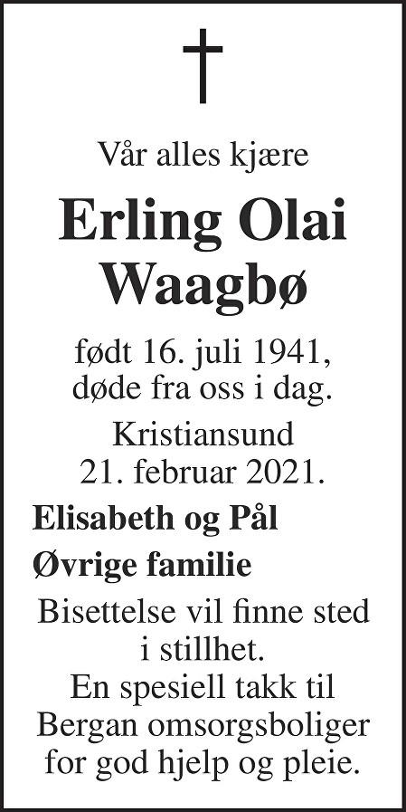 Erling Olai Waagbø Dødsannonse