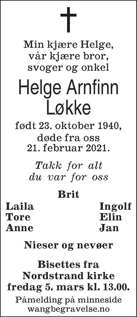 Helge Arnfinn Løkke Dødsannonse