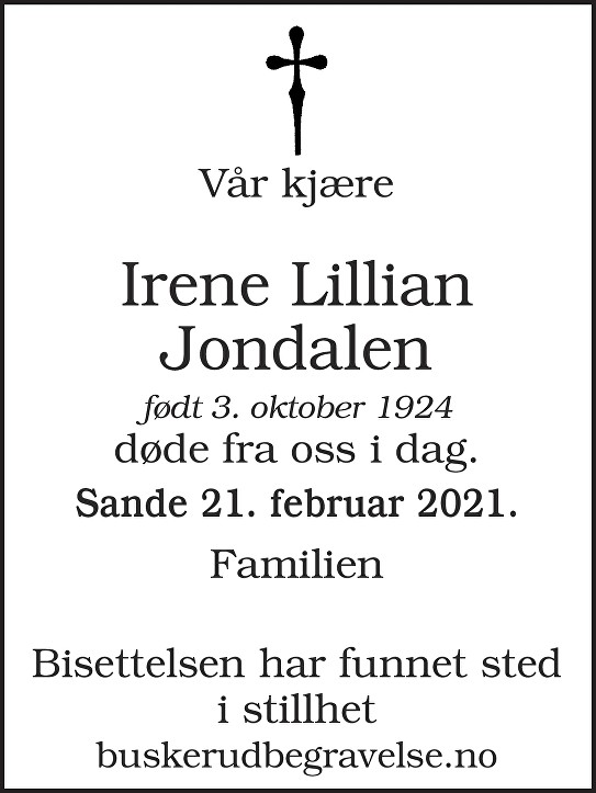 Irene Lillian Jondalen Dødsannonse