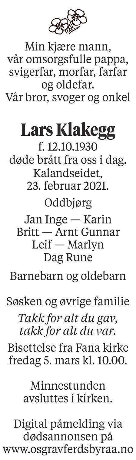 Lars Klakegg Dødsannonse