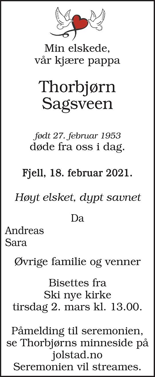 Thorbjørn Sagsveen Dødsannonse