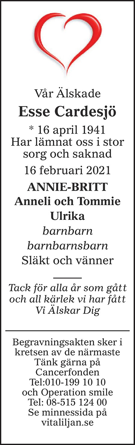 Esse Cardesjö Death notice