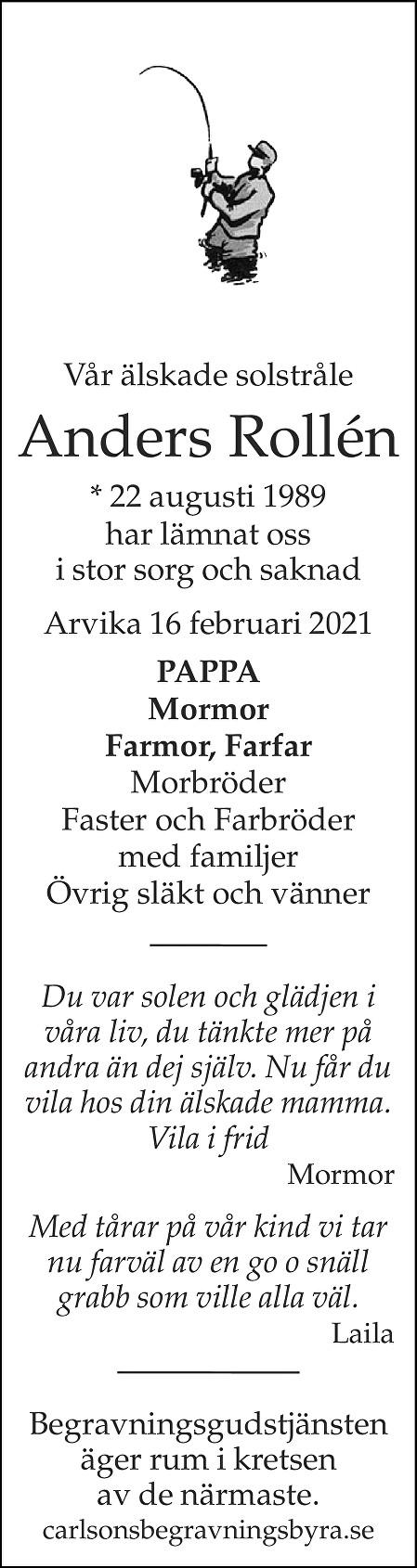 Anders Rollén Death notice