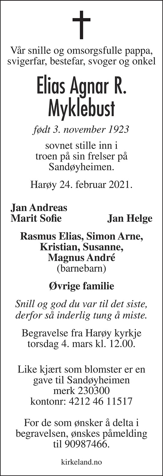 Elias Agnar R. Myklebust Dødsannonse
