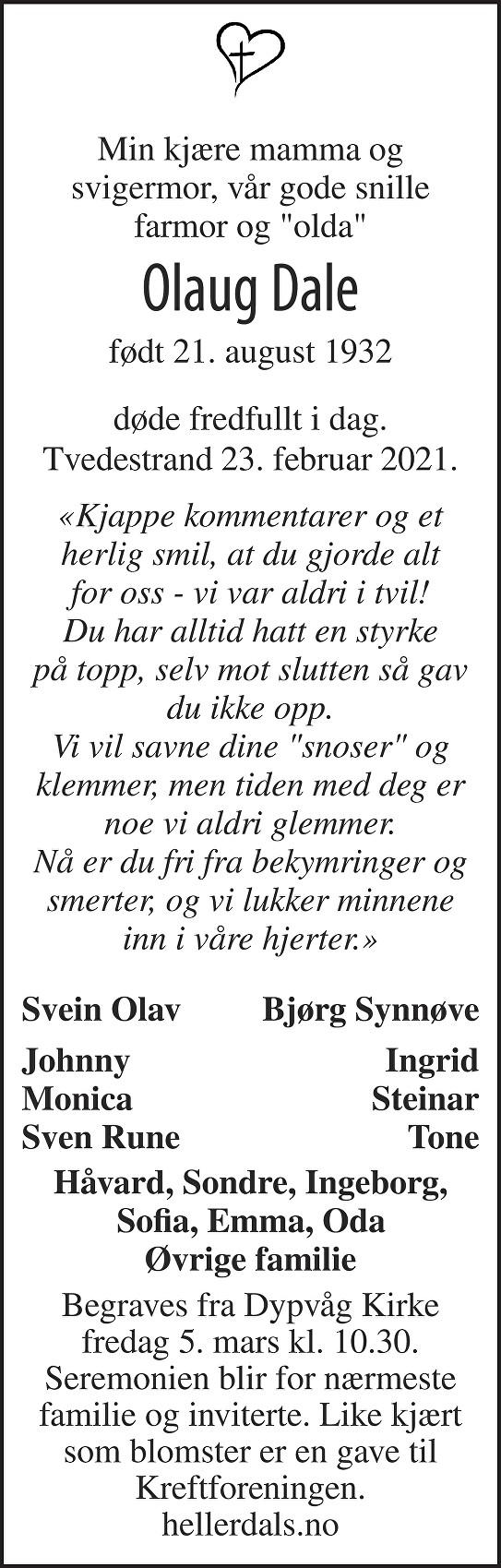 Olaug Dale Dødsannonse