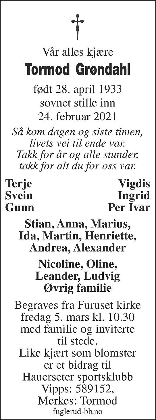 Tormod Grøndahl Dødsannonse