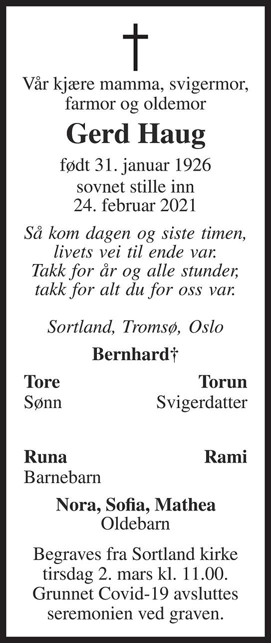 Gerd Haug Dødsannonse