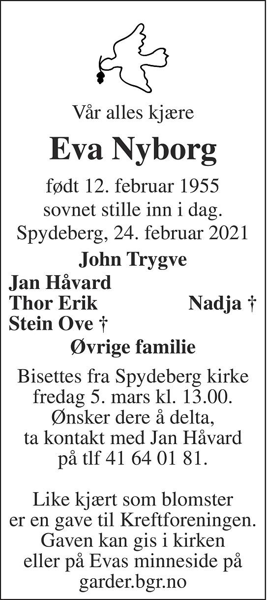 Eva Nyborg Dødsannonse