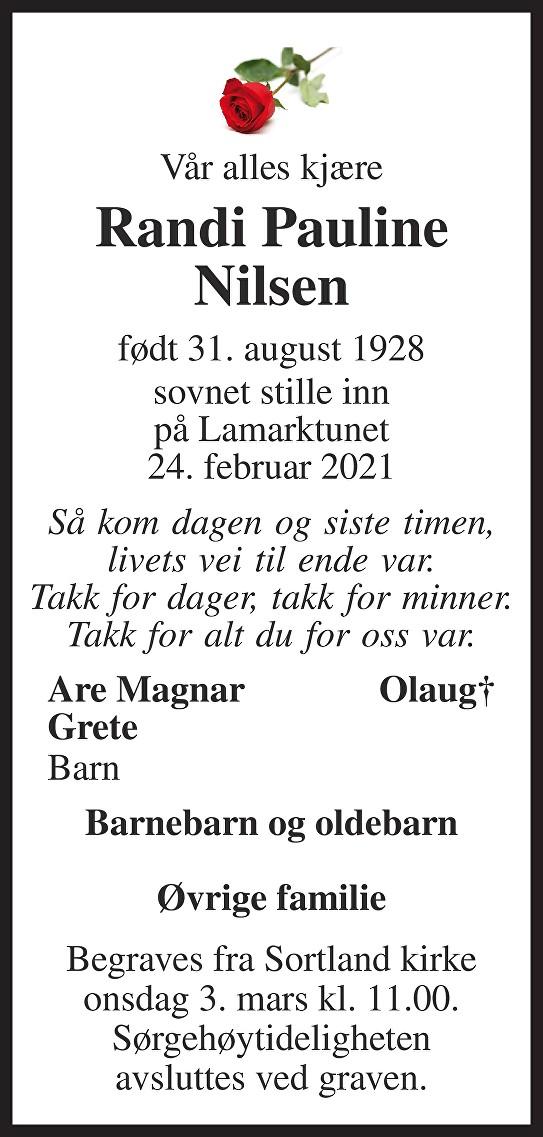 Randi Pauline Nilsen Dødsannonse