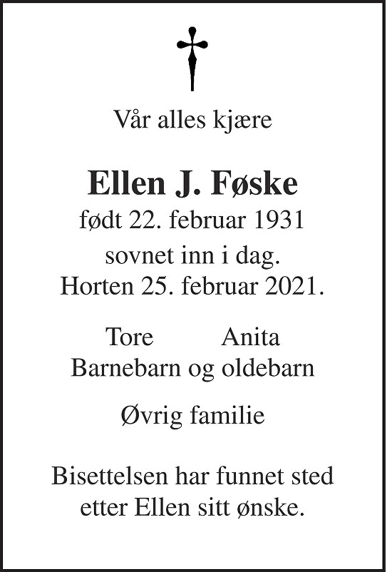 Ellen Johanne Føske Dødsannonse