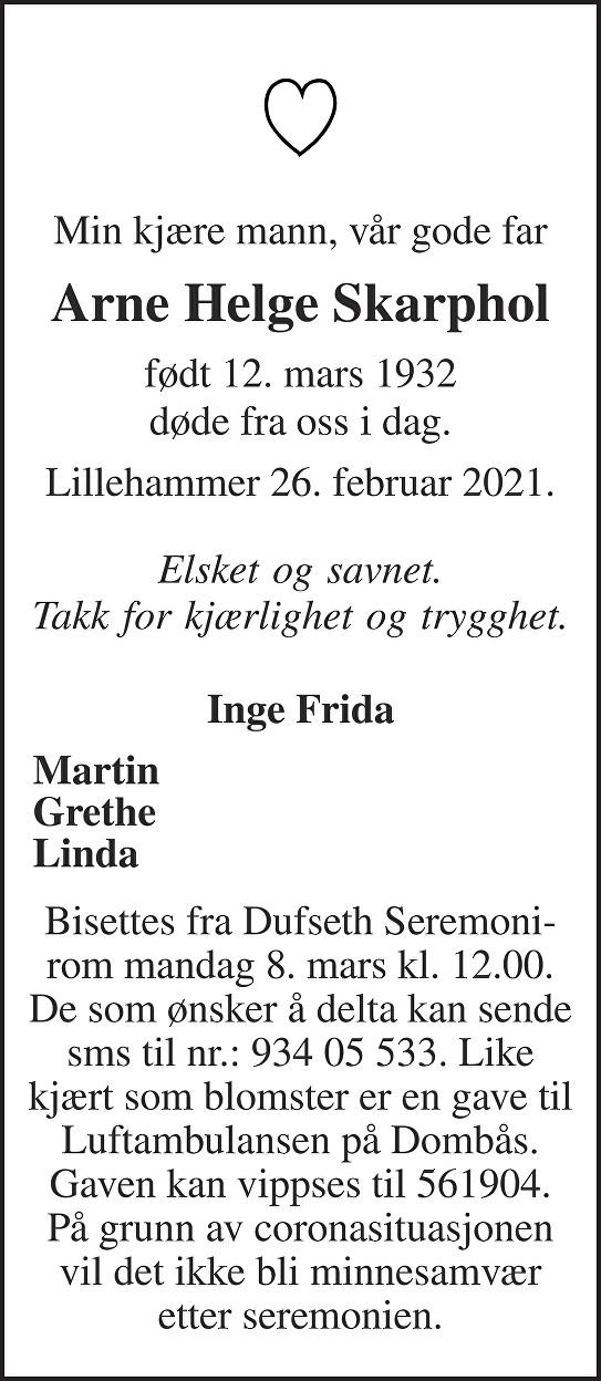 Arne Helge Skarphol Dødsannonse