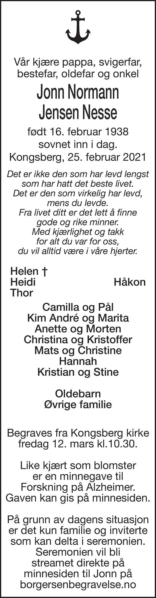 Jonn Normann Jensen Nesse Dødsannonse