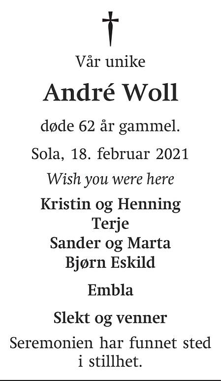 André Woll Dødsannonse