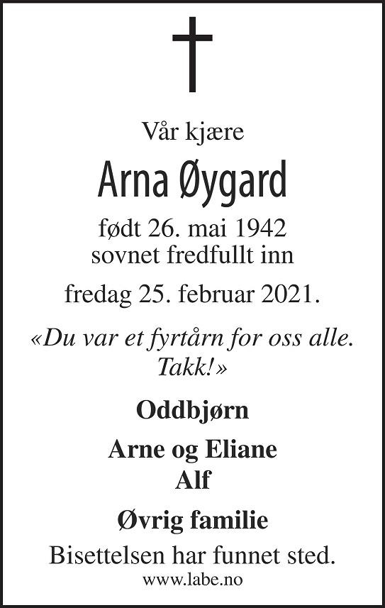 Arna Øygard Dødsannonse