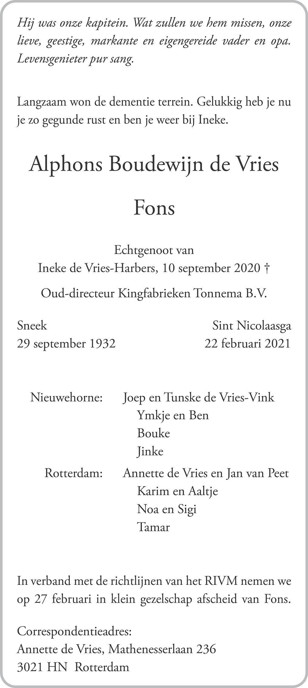 Alphons Boudewijn Vries Death notice