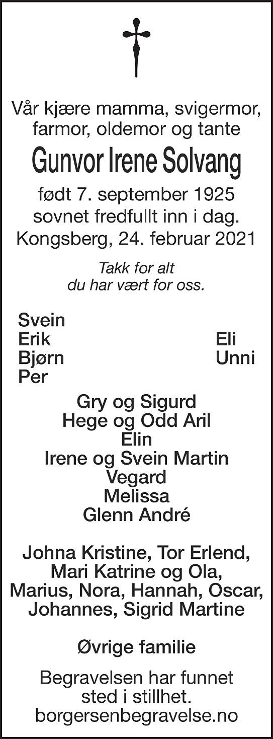 Gunvor Irene Solvang Dødsannonse
