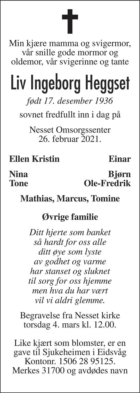 Liv Ingeborg Heggset Dødsannonse