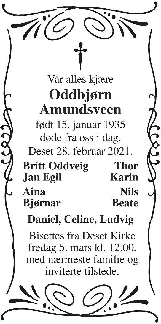 Oddbjørn Amundsveen Dødsannonse