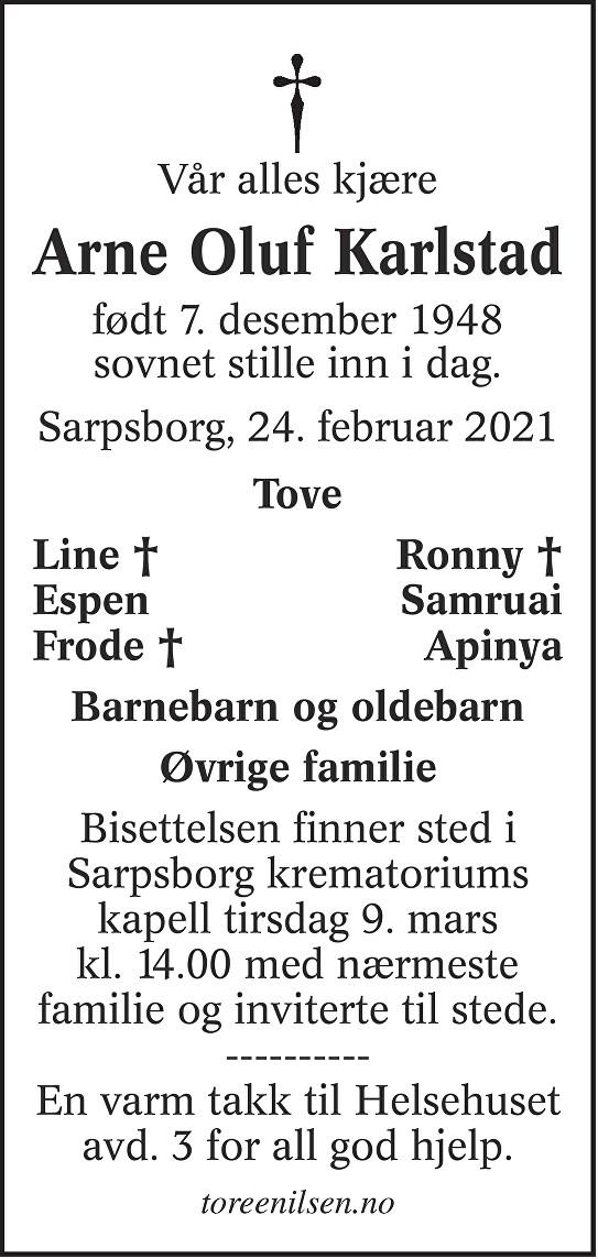 Arne Oluf Karlstad Dødsannonse