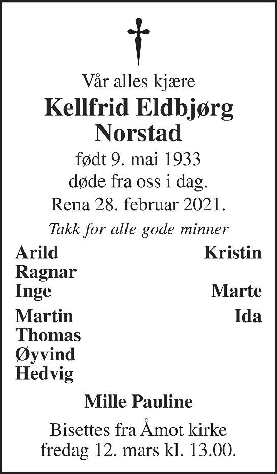 Kellfrid Eldbjørg Norstad Dødsannonse