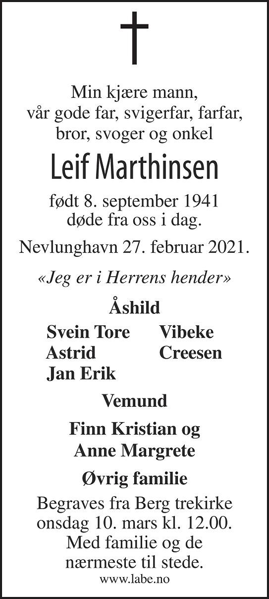 Leif Marthinsen Dødsannonse