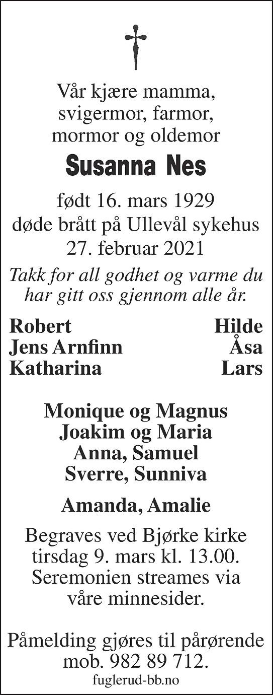 Susanna Nes Dødsannonse