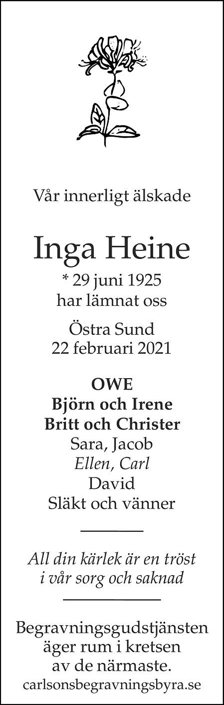 Inga Heine Death notice