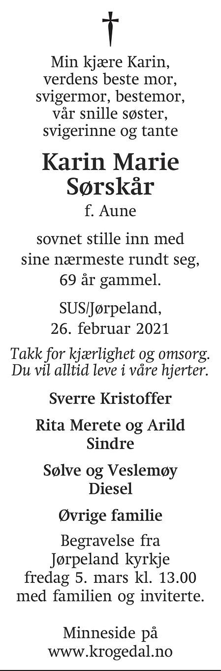 Karin Marie Sørskår Dødsannonse