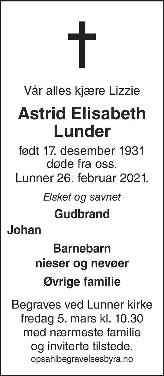 Astrid Elisabeth Lunder Dødsannonse