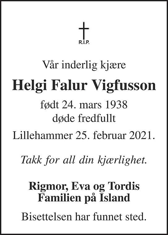 Helgi Falur Vigfusson Dødsannonse