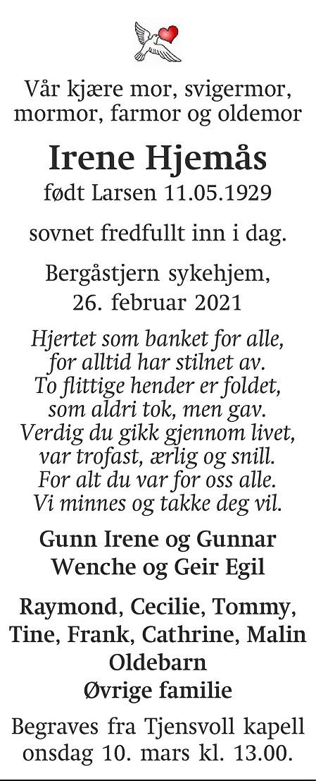 Irene Hjemås Dødsannonse