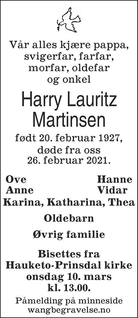 Harry Lauritz Martinsen Dødsannonse