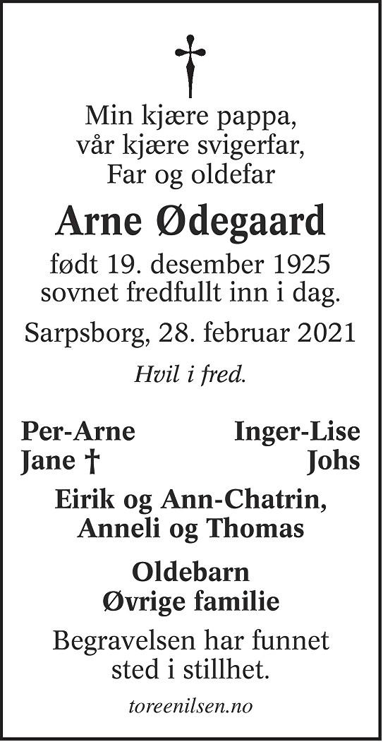 Arne Ødegaard Dødsannonse