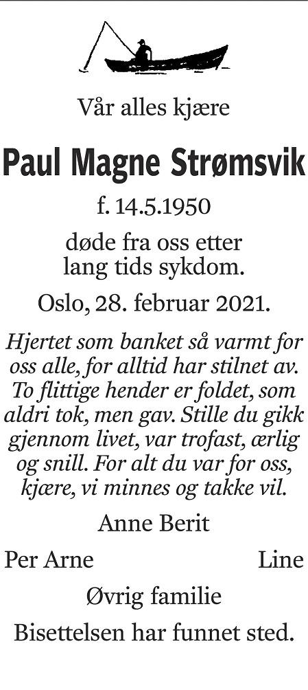 Paul Magne Strømsvik Dødsannonse