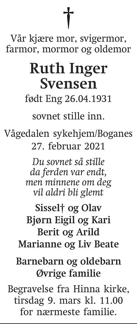 Ruth Inger Svensen Dødsannonse